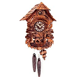 Original One Day Movement Cuckoo Clock with Owl and Deer 12 Inch