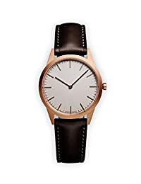UNIFORM WARES C35 Swiss Quartz Stainless Steel and Brown Leather Watch