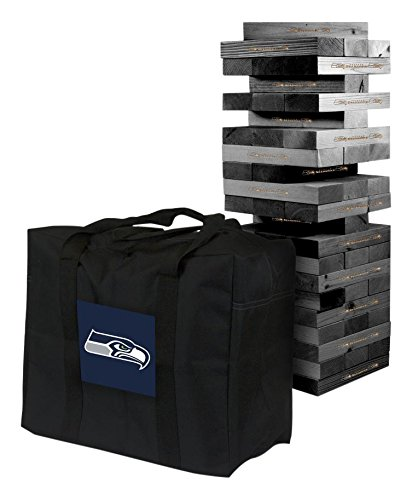 NFL Seattle Seahawks NFL 858037Seattle Seahawks NFL Onyx Stained Giant Wooden Tumble Tower Game, Multicolor, One - Nfl Wooden Blocks