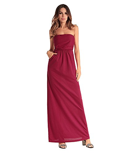 Out Red Red Cocktail Pure Color Maxi Off antaina Long Beach Night Shoulder Dress 0fqw4FwxU