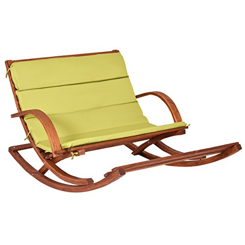lounge chair wood slat porch patio wood 2 person rocking furni green cushion for relaxing, sleeping