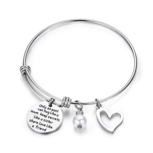 CJ&M Aunt Bracelet With Heart Charm - Aunt Gifts From Niece,Gifts for an Aunt,Aunt Jewelry,Aunt Gifts,Sister Jewelry Best Friend Gift Friend Sister