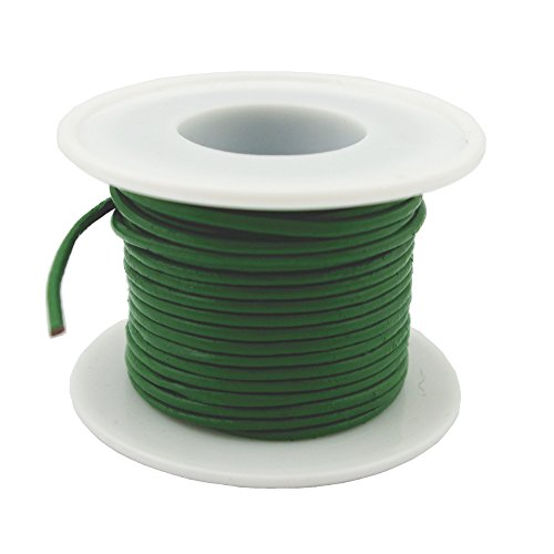Glory Qin Soft Round Genuine Jewelry Leather Cord Leather Rope (Green 2mm 10 Yards) ()