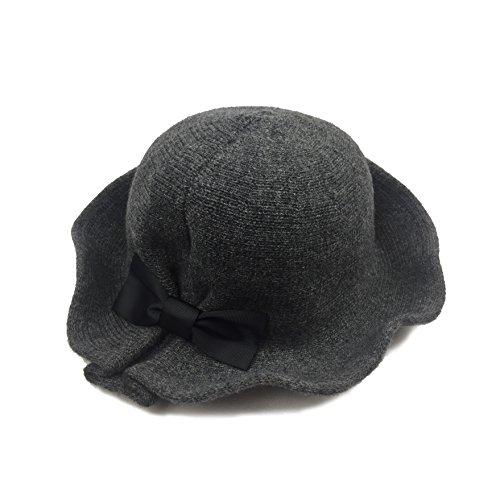 SUPERCB Women's Retro Wool Felt Cloche Bucket Bowler Hat Winter Crushable Bowknot Dark (Vintage Retro Hat)