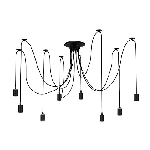 ZHMA Ceiling Spider Lamp Light Pendant Lighting, Antique Classic Adjustable DIY Lighting Chandelier Modern Chic Industrial Dining 8 Arms(Each with 1.7m (Eight Light Ceiling Lamp)