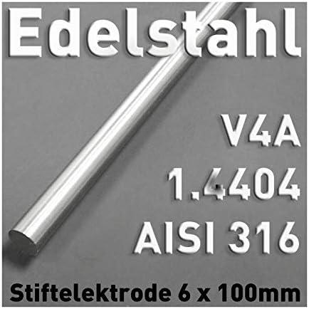 Edelstahl-Stab-Anode aus V4A, Rund Stab Elektrode ⌀6 x 100 mm Galvanik Elektrolyse Metall AISI 316