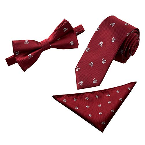 Alizeal Mens Skull Pattern Bow Tie, Tie and Pocket Square Set (Maroon)