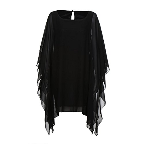 Clearance! Mini Dress,Showking Women's Batwing Sleeve Solid Chiffon Cloak Cape Dress (XL) by Showking_women Dress (Image #6)