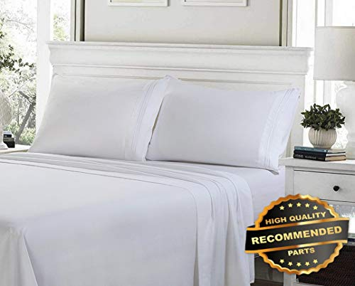 (Ellyly Premium New 100% Egyptian Cotton Deep Pocket Ultimate 4 Piece Bed Sheet Set Hypoallergenic | Style CMFTR-120222828 | Queen)