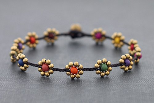 - Woven Beaded Anklet Candy Daisy Brass Folk Hippy Yoga Stone Braided Gift For Her Love Anklets