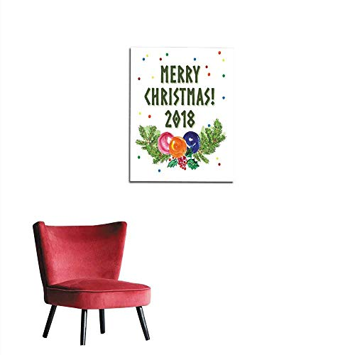 Photographic Wallpaper Watercolor artistic hand drawn christmas congratulation designs with fir tree branch holly decoration balls lettering & confetti isolated on white background Happymural 32