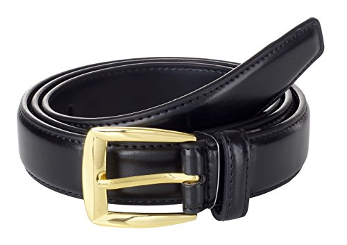 Sportoli Men's Genuine Leather Classic Stitched Casual Uniform Dress Belt - Black/Gold Buckle (38)