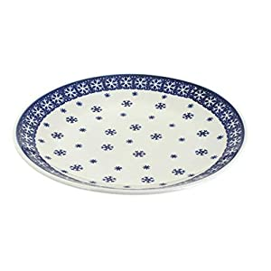 Blue Rose Polish Pottery Snow Flurry Dinner Plate