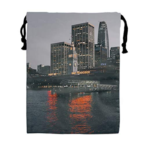 Drawstring Bags Favors for Kids San Francisco Usa Bridge Skyscrapers Beach Design Backpack Sack Shoulder Bags Gym Bag, Arts and Crafts Activity -