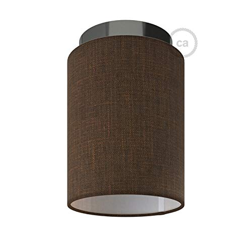 Fermaluce with Brown Camelot Cylinder Lampshade, Black Pearl Metal, Ø 5.90