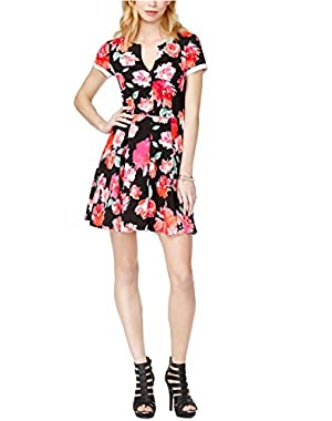 Guess Women's Pleated Zip-Back Fit-And-Flare Dress