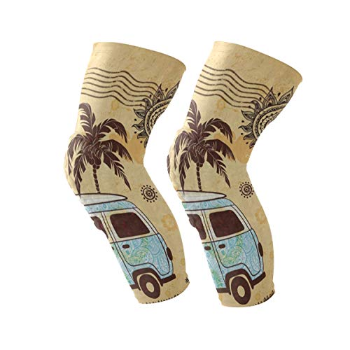 Knee Sleeve Old Fashion Bus Palm Tree Sun Mandala Full Leg Brace Compression Long Sleeves Pant Running, Jogging, Sports, Crossfit, Basketball, Joint Pain Relief, Men and Women 1 Pair