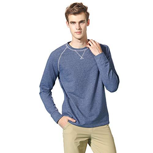 EAGEGOF Mens Long Sleeve Soft Fleece Crew Neck Sweatshirt Tech Fleece T-Shirt Male Sportswear