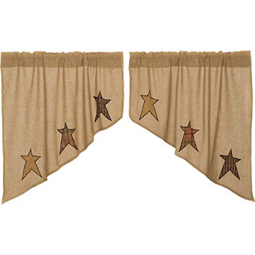VHC Brands Primitive Kitchen Curtains Sutton Rod Pocket Appliqued Cotton Burlap Star Swag Pair, Natural Tan