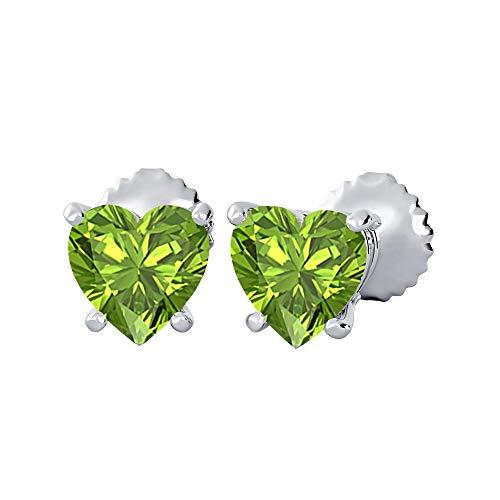 tusakha Lovely Heart Shaped Bazel (9MM) Green Peridot Solitaire Stud Earrings 14K White Gold Over .925 Sterling Silver For Women's