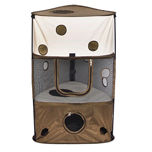 Price comparison product image Aretues Particular Cat Playpen / Pet House Tent / Multifunctional Kitten Cube Suitable for Indoor and Outdoor / Sexy Leopard Pattern Cat Home