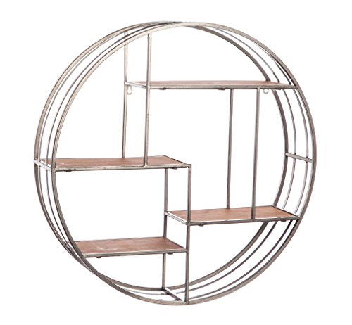 - Cape Craftsmen Round Metal Wall Display with Wooden Shelves