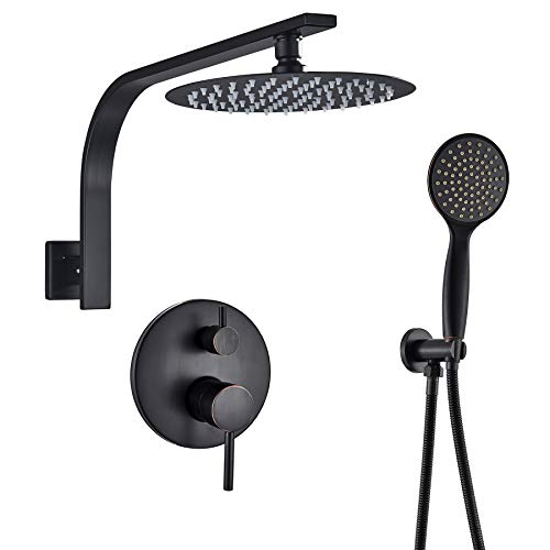 Rozin Bathroom 2-Function Diverter Valve Shower Faucet 10-inch Ultrathin Rain Showerhead + Handheld Spray Black Color