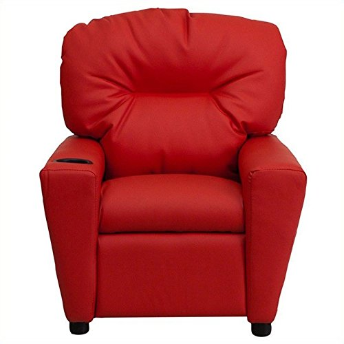 Flash Furniture Contemporary Red Vinyl Kids Recliner with Cup Holder (Sale Kitchen Red Chairs)