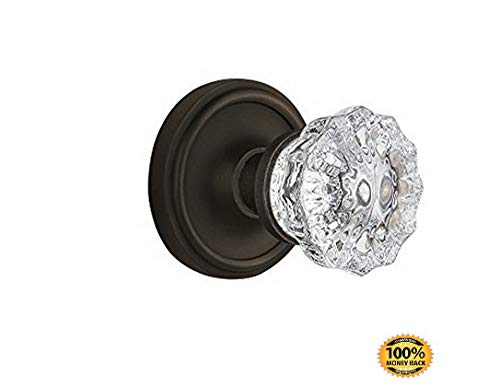 ArtMuseKits BN22-CLACRY-OB Classic Rosette with Crystal Double Dummy Knob, Oil Rubbed Bronze