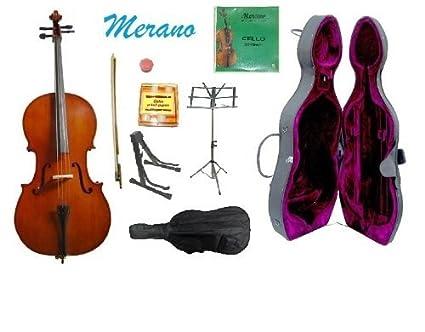 Amazon.com: MERANO 3/4 Tamaño Cello Con Estuche Duro, bolsa ...