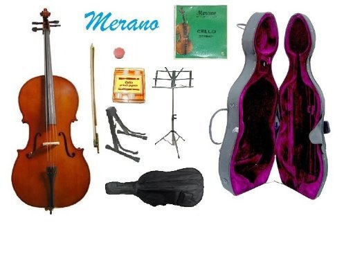 Merano 3/4 Size Cello with Hard Case, Bag and Bow+2 Sets of Strings+Pitch Pipe+Cello Stand+Black Music Stand+Rosin by Merano