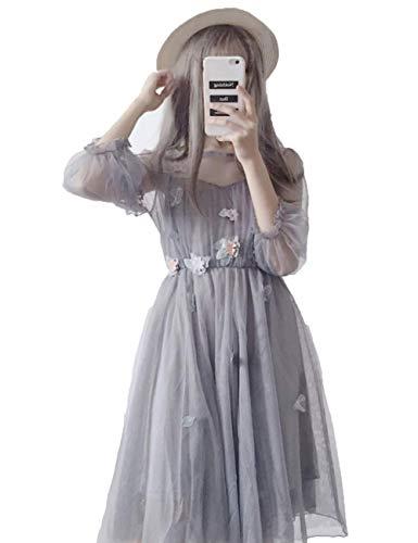 気候の山フィードオン私たち自身Maruya レディース ワンピース ロリータ チュール ドレス かわいい 森ガール ふんわり 花柄 細身 透け感 刺繍 姫系 日系