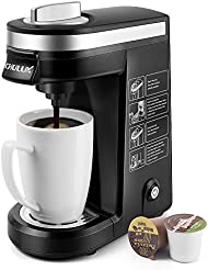 CHULUX Single Serve Coffee Maker Brewer for Single Cup Capsule with 12 Ounce Reservoir,Black
