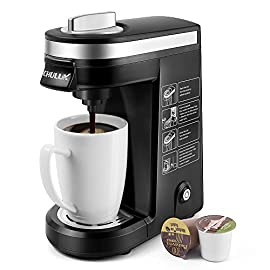 CHULUX Single Serve Coffee Maker Brewer for Single Cup Capsule with 12 Ounce Reservoir,Black 10 Single Cup Coffee Design - This coffee brewer fits most of coffee capsules.Never worry about 1.0 or 2.0 again.You also can use own ground coffee,create your private cafe no matter at rushing hour or leisure time. One Button Operation - 800W heating element with fast brewing system,one button operation for on/off.It also features automatic shut-off function that goes off after 3 mins.Save time and effort. Compact and Small Sized - Our personal coffee machine is perfect for home,office,hotel,apartment,caravan,school,etc.Especially for limited counter space or travel,you can take it to anywhere,then enjoy hot beverage anytime you want.