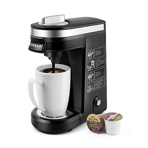 CHULUX Single Serve Coffee Maker 1 Single Cup Coffee Design - This coffee brewer fits most of coffee capsules.Never worry about 1.0 or 2.0 again.You also can use own ground coffee,create your private cafe no matter at rushing hour or leisure time. One Touch Operation - 800W heating element with fast brewing system,one button operation for on/off.It also features automatic shut-off function that goes off after 3 mins.Save time and effort. Compact and Small Sized - Our personal coffee machine is perfect for home,office,hotel,apartment,caravan,school,etc.Especially for limited counter space or travel,you can take it to anywhere,then enjoy hot beverage anytime you want.