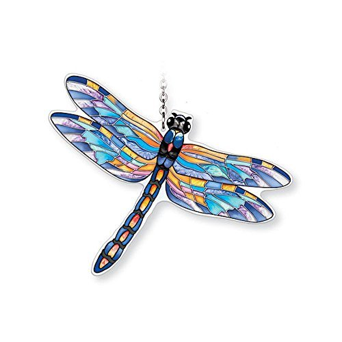 Amia Hand-Painted Glass Dragonfly Suncatcher - Blue, Eastern Pondhawk