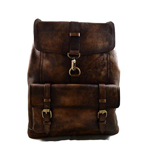 Vintage leather backpack genuine washed leather travel bag weekender sports bag gym bag leather shoulder ladies mens dark brown backpack by ItalianHandbags