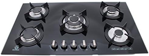 Supra 5Q-EC-N Estufa de Empotrar 5 Quemadores en Cristal Templado, color Negro