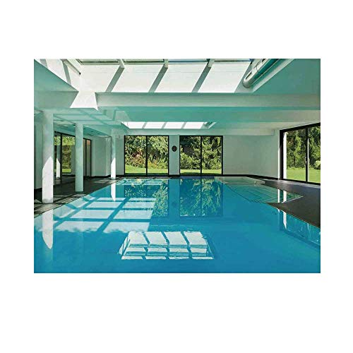 (House Decor Photography Background,Indoor Swimming Pool of a Modern House with Spa Window Residential Interior Backdrop for Studio,20x10ft)