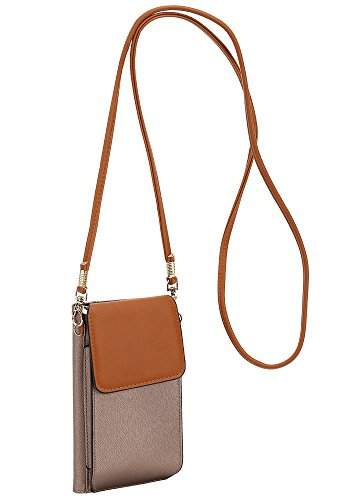 Bag Traveling Bronze Case DELUXITY Cell for Small Wallet Women Purse Phone Brown Crossbody 855Ppq
