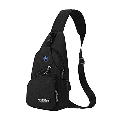 CHNNFC NFL Unisex Black Sling Backpack Chest Bag Travel Hiking Daypack for Outdoor Sports Camping - Tennessee Titans