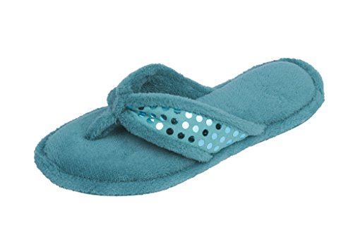 Beverly Rock Womans Sequin Studded Terry Spa Thong Flipflop Slippers Aqua Green Jpw4HmY9zu