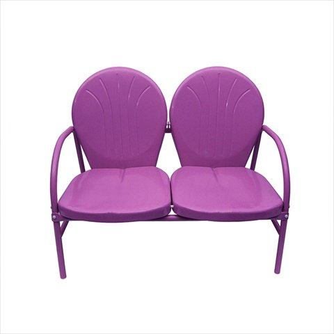 NorthLight Purple Retro Metal Tulip 2-Seat Double Chair