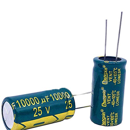 PoiLee 5pcs Capacitor 10000uf 25v 18X35MM, Radial Electrolytic Capacitor 25v Low ESR