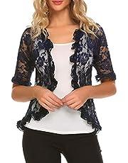 ELESOL Women Elegant Bolero Shrug Half Sleeve Lace Crochet Ruffle Open Front Cardigan