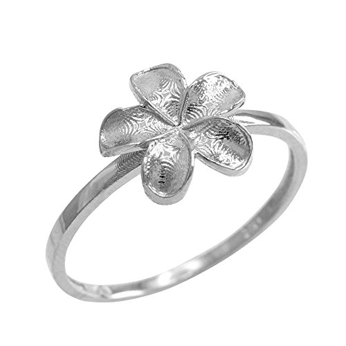 (Dainty 10k White Gold Hawaiian Plumeria Flower Ring (Size 5.25))