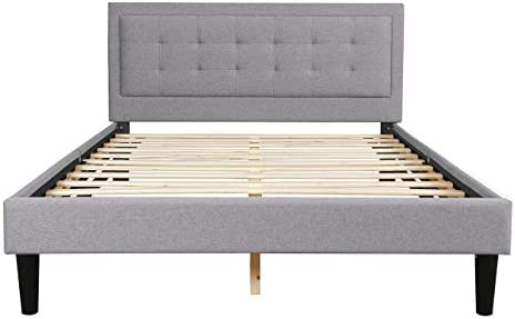 Upholstered Linen Platform Bed Frame Full Size with Headboard and Footboard/Mattress Foundation/Wood Slat Support/No Box Spring Needed,Light Grey