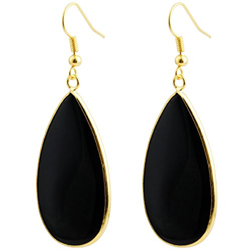 SUNYIK Women's Black Agate Round Teardrop Dangle ()