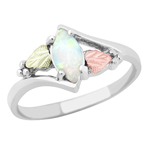 8 X 4 MM Marquise Shaped Synthetic Opal Black Hills Ring in Sterling Silver -