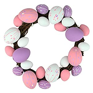 "Northlight 10"" Pastel Pink, Purple and White Floral Stem Easter Egg Spring Grapevine Wreath 23"